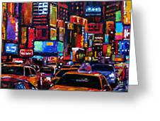 Times Square Greeting Card by Debra Hurd