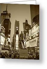 Times Square Ny Overlooking The Square Sepia Greeting Card