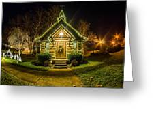 Tiny Chapel With Lighting At Night Greeting Card