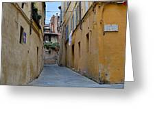 Tiny Street In Siena Greeting Card