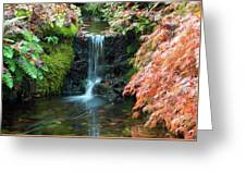 Tiny Waterfall In Japanese  Garden.the Butchart Gardens,victoria.canada. Greeting Card