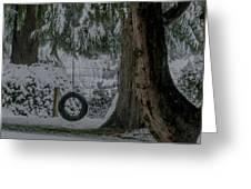Tire Swing In Winter Greeting Card