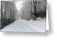 Tire Tracks In Fresh Snow Greeting Card