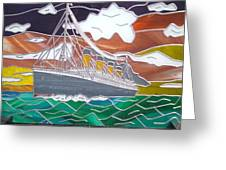 Titanics Last Sunset In Beautiful Stained Glass. Greeting Card