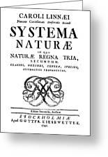 Title Page, Systema Naturae, Carl Greeting Card