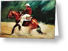 Tk Enterprise Sliding Stop Reining Horse Portrait Painting Greeting Card
