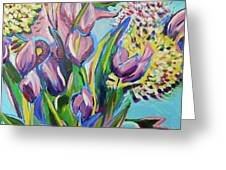 Pink Floral On Blue Greeting Card