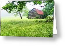 Tobacco Barn In Fog Greeting Card