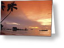 Tobago, Pigeon Point Sunset, Caribbean Sea, Greeting Card
