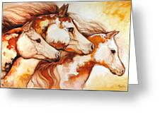 Tobiano Horse Trio Greeting Card