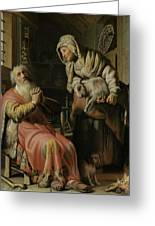 Tobit And Anna With The Kid Greeting Card