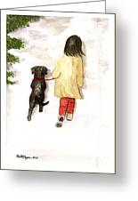 Together - Black Labrador And Woman Walking Greeting Card