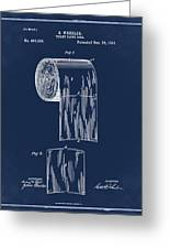 Toilet Paper Roll Patent 1891 Blue Greeting Card