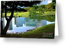 Tokyo Skyscrapers Reflection Greeting Card