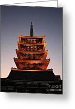 Tokyo Temple Lights At Dusk Greeting Card