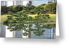 Tokyo Trees Reflection Greeting Card by Carol Groenen