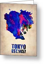 Tokyo Watercolor Map 2 Greeting Card