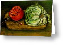 Tomato And Cabbage Oil Painting Canvas Greeting Card