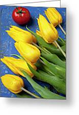 Tomato And Tulips Greeting Card by Garry Gay