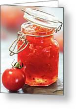 Tomato Jam In Glass Jar Greeting Card