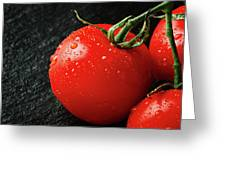 Tomatoes Close Up On Black Slate Greeting Card