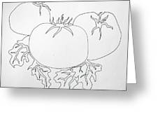 Tomatoes On A Vine In One Line Greeting Card