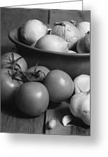 Tomatos Onion And Garlic Greeting Card