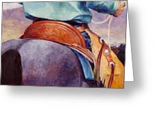 Toms Saddle Western Painting Cowboy Art Greeting Card