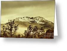 Toned View Of A Snowy Mount Gell, Tasmania Greeting Card