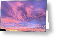 Tonight's Sunset Over Tesco :) #view Greeting Card