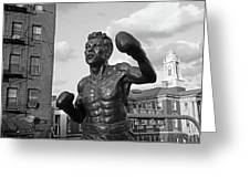 Tony Demarco Boxer Statue North End Boston Ma Sunset Black And White Greeting Card