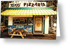 Tony's Pizzaria Greeting Card by Ron Regalado