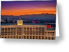 Top Of The Bellagio After Sunset Greeting Card