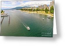Top View Of English Bay In Summer, Vancouver Bc. Greeting Card