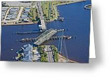Topsail Island Swing Bridge Greeting Card by Betsy Knapp