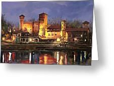 Torino-il Borgo Medioevale Di Notte Greeting Card