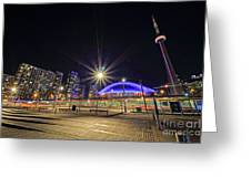 Toronto Harbourfront Street Car Light Trails Greeting Card