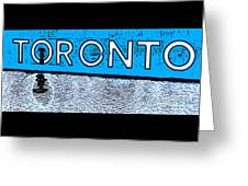 Toronto In The Rain Poster In Blue Greeting Card