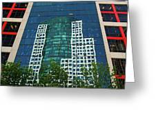 Toronto Metro Hall Reflected In The Cbc Building Greeting Card