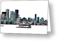 Toronto Portlands Skyline With Island Ferry Greeting Card