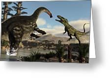 Torvosaurus And Apatosaurus Dinosaurs Fighting - 3d Render Greeting Card