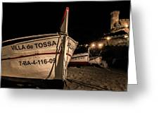 Tossa De Mar By Night Greeting Card