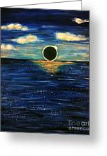 Totality On The Sea - Solar Eclipse  Greeting Card