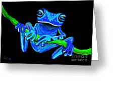 Totally Blue Frog On A Vine Greeting Card