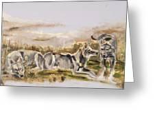 Totem Wolf Sunset Greeting Card