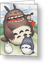 Totoro And Friends After Hayao Miyazaki Greeting Card