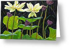 Touching Lotus Blooms Greeting Card