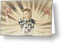 Tough Vintage Boxing Girl Winning Round In Gloves Greeting Card