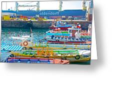 Tour Boats In Port Of Valparaiso-chile Greeting Card