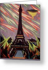 Tour Eiffel Et Ovni Greeting Card